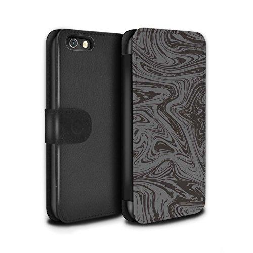 Stuff4 Coque/Etui/Housse Cuir PU Case/Cover pour Apple iPhone 5/5S / Rouge/Rose Design / Effet Métal Liquide Fondu Collection Argent