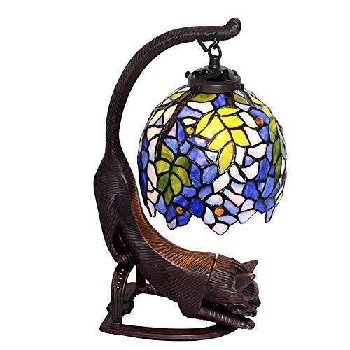 Tiffany-Stil Tischlampe, europäische farbige Glaslampe, Schlafzimmer Wohnzimmer Nachttischlampe, kreative retro dekorative Katze Kopf Kunst Tischlampe