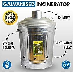 Grand format 90L Incinérateur de jardin en métal galvanisé pour déchets Corbeille à feu