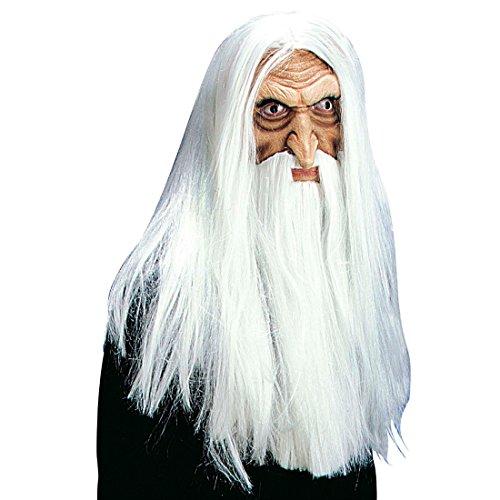 Weißer Zauberer Maske Magier Halloweenmaske mit Haaren und Bart Saruman Gandalf Karnevalsmaske Halloween Latexmaske Alter Mann Faschingsmaske Opa Grusel Horror Gruselmaske Horrormaske Fantasy Mottoparty Accessoire Karneval Kostüm Zubehör