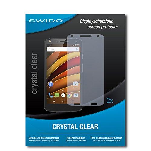 SWIDO Schutzfolie für Motorola Moto X Force [2 Stück] Kristall-Klar, Hoher Härtegrad, Schutz vor Öl, Staub & Kratzer/Glasfolie, Bildschirmschutz, Bildschirmschutzfolie, Panzerglas-Folie