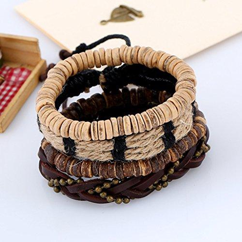 Jiayiqi Hommes Tissé Rétro Cuir Bracelet En Cuir Bracelet Multicouche Réglable NO.12
