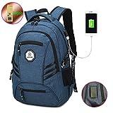Business Laptop Rucksack, Computer Rucksäcke Casual Wandern Reisen Daypack mit USB-Lade-Port passt unter 15,6 Zoll Laptop & Tablets (Blau)