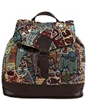 Anekaant Seventh Sense Women Cotton Polyester PU Brown and Multicolor Backpack best price on Amazon @ Rs. 999