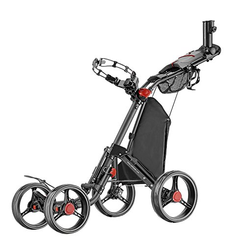 Caddytek Superlite Quad V2 4-Rad Trolley Push Golftrolley Golfcaddy Golfwagen schwarz
