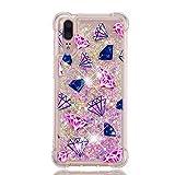 Miagon Flüssig Hülle für Samsung Galaxy M10,Glitzer Weich Treibsand Handyhülle Glitter Quicksand Silikon TPU Bumper Schutzhülle Case Cover-Diamanten