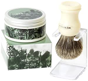 Men Rock Oak Moss Shave Cream with Badger Brush and Drip Stand