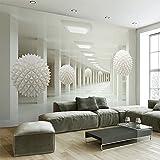 YShasaG Seidenwandbild 3D Stereo Abstrakt Raum Weiß Kugel Wandbild Tapete Büro Wohnzimmer TV Sofa Hintergrund Wand-Dekor Tapete 3D,350cm*260cm