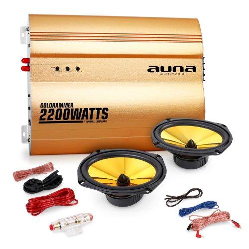 auna 2.0 Car HiFi Set Golden Race V3-6x9 Auto Lautsprecher Paar mit Verstärker (15x23cm Einbaulautsprecher, 2200 Watt Endstufe, inkl. Kabelset) Gold