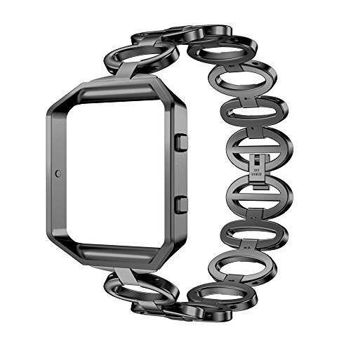 Fitbit Blaze Gurt, WEANT FB106Luxus Edelstahl Quick Release Armband Smart Watch Band Strap + Schutzhülle für Fitbit Blaze, Kinder Herren damen, schwarz