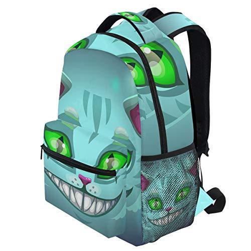 ry Lächelndes Katzengesicht Cheshire Green Eye Halloween Rucksäcke Bookbags Daypack Travel School College Tasche für Frauen Mädchen Männer Jungen ()