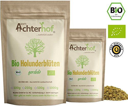 Bio Holunderblüten Tee (250g) | Holunderblütentee | Holunder | organic elder flowers cut vom Achterhof -