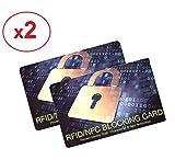 ✅ [ Lot de 2 ] Carte Anti RFID/NFC - Protection des Cartes Bancaires sans Contact - Plus Besoin d'étuis, placez Cette Carte dans Votre Portefeuille ou Votre Sac Contre Le piratage des données - (x2)