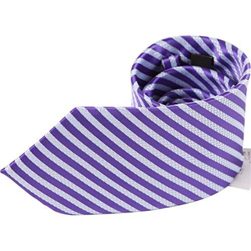 Yetta Home 9cm violett weiße Streifen Krawatten Set Herren Krawatte Manschettenknöpfe Einstecktuch Krawattenklammer in Geschenkbox