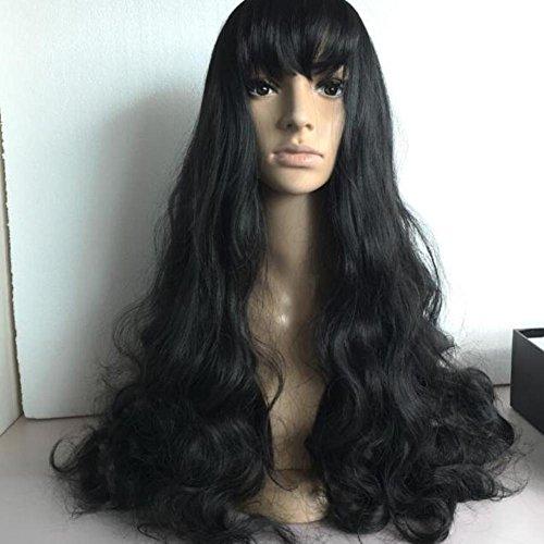 JUN filo ad alta temperatura capello umano lunghi neri parrucca di capelli ricci della signora di modo