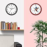 [Sponsored]Story@Home 10-inch Round Shape Set Of 2 Wall Clock With Glass For Home/Kitchen/Living Room/Bedroom (Black And Red Frame)