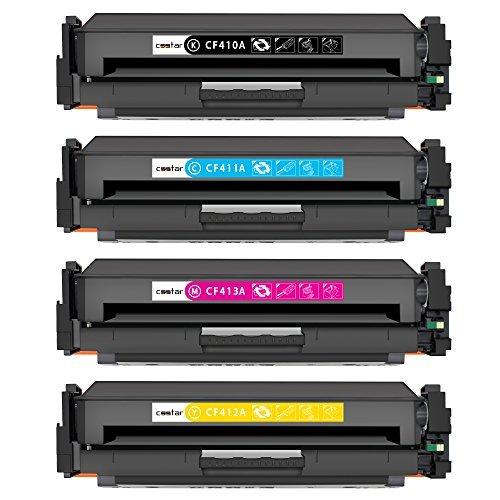 CSSTAR Paquete de 4 Compatible Cartuchos de Tóner Reemplazo para HP 410X CF410X CF411X CF412X CF413X para Color Laserjet Pro MFP M477fdw M477fdn M477fnw M377dw M452dn M452nw M452dw Impresora