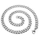 SoulCats® Halskette Königskette Panzerkette Edelstahl silber, Größe:8 mm, Auswahl:Kette 50 cm, Farbe:Silber