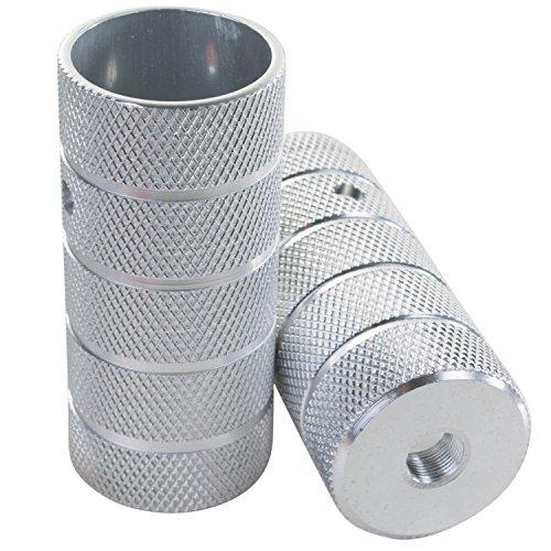 1 Paar 10mm oder 14 mm Schraubpegs BMX Peg Stahl oder Alu 3/8x26 TPI Zoll für Vollachse Gewinde Axle Trickachsen Fußrasten Fußraster, Ausführung:14 mm Alu Silber -