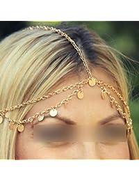 HuntGold 1X böhmische Art Kreis Pailletten Kette Schmuck Stirn Haar Band Schließe Schmuck