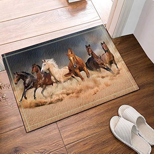 gohebe Sechs Running Horse in grau Bad Teppiche rutschhemmend Boden Eingänge Outdoor Innen vorne Fußmatte 60x 40cm Badvorleger Badematte Bad Teppiche