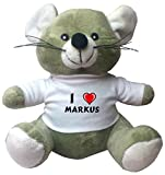 Plush Mouse with I Love Markus T-shirt (first name/surname/nickname)