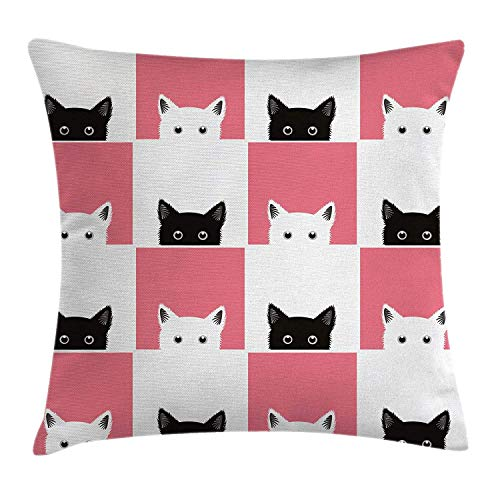 K0k2t0 Cats Throw Pillow Cushion Cover by, Chess Board Design with Cute Kittens Feline Baby Kitty Animals Pets Retro Mosaic, Decorative Square Accent Pillow Case, 18 X 18 Inches, Black White Pink