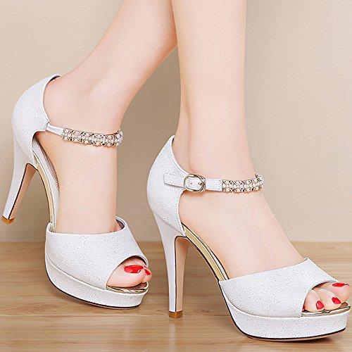 Lgk & fa sandali da donna estate temperamento bene con la bocca dei pesci scarpe con tacco Xia Word fibbia diamante sandali impermeabile tavolo bianco, 37 Beige 39 white