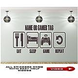 EAT SLEEP GAME REPEAT Wandtattoo Wandaufkleber Wandsticker Wandbilder Personalisiertem Namen, GAME TAG, PS4 WIRELESS CONTROLLER