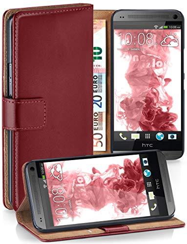 moex HTC One Mini | Hülle Dunkel-Rot mit Karten-Fach 360° Book Klapp-Hülle Handytasche Kunst-Leder Handyhülle für HTC One Mini M4 Case Flip Cover Schutzhülle Tasche