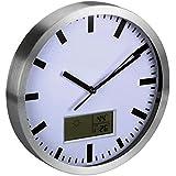 Reloj de pared con pantalla LCD–Termómetro y higrómetro–aluminio–Diámetro 25cm–WC25