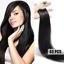 Extensiones cinta adhesiva de pelo natural #01 Negro 50cm - 40piezas - Tape in Remy Hair Extensions