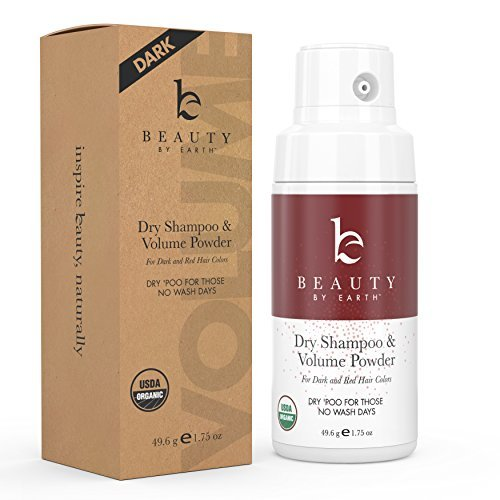 Organic Dry Shampoo Powder; for Instant Unwashed Volume and Style; Best for Brunette, Brown, Dark Red and Black Hair Colors; Clean All Natural Scent Dry 'Poo for Those No Wash Days; 1.75oz
