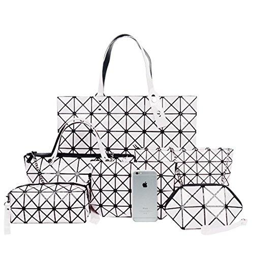 Flada Girls PU Leder Geometrische Handtasche + Metall Kette Schultertasche + Crossbody Tasche + Messenger Bag + Geldbörse + Make-up Tasche Sechsteiliges Set Weiß -