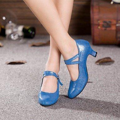 XIAMUO anpassbar - die Frauen tanzen Schuhe Moderne funkelnden Glitter angepasste Ferse Outdoor Schwarz/Blau Hellblau