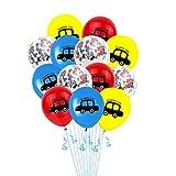 NUOBESTY 13 Piezas 12 Pulgadas Coche Impreso Globos Globos de Confeti Fiesta Globos de látex con Cinta para cumpleaños Baby Shower Boda