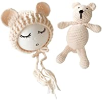 Frecoccialo Newborn Baby Boy Girl Knitted Crochet Hat Bear Doll Toys Set Costume Photo Photography Prop Outfits (0-2 M)