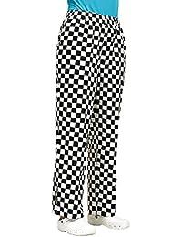 Easy Fit Unisex de chef ajedrez negro & blanco a cuadros para pantalones