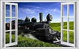 DesFoli Dampflok Lok Zug 3D Look Wandtattoo 70 x 115 cm Wanddurchbruch Wandbild Sticker Aufkleber F549