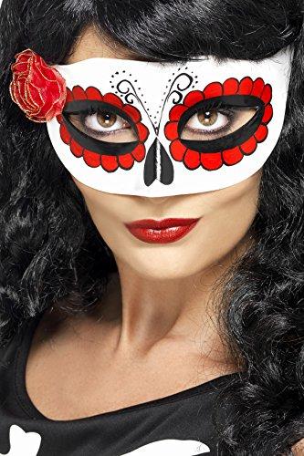 Smiffys, Damen Augenmaske Mexikanischer Tag der Toten, One Size, Weiß und Rot, 27854 (Tag Der Toten Kostüme Uk)