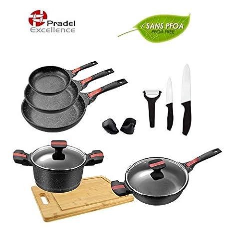 Pradel Excellence - Gamme luxe Volna- Batterie de cuisine 14 pièces -Poêle -Faitout - Sauteuse ....-Revêtement façon pierre - manche amovible - Garanti sans PFOA