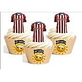 12 x Sporting Gijón Camiseta de Fútbol 2016-17 Decoración Comestible Personalizacion de Reposteria Feliz Cumpleanos