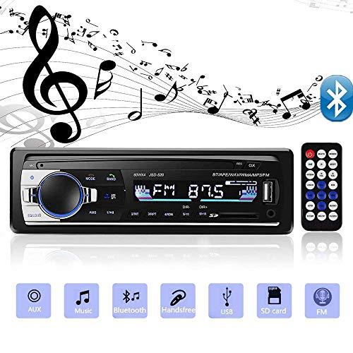 CNMF Autoradio mit Bluetooth Freisprecheinrichtung 60W x 4 Single Din Universal Autoradio FM Empfänger Eingebautes Mikrofon Universal MP3 MP5 Player Unterstützung USB TF AUX WMA WAV Fernbedienung