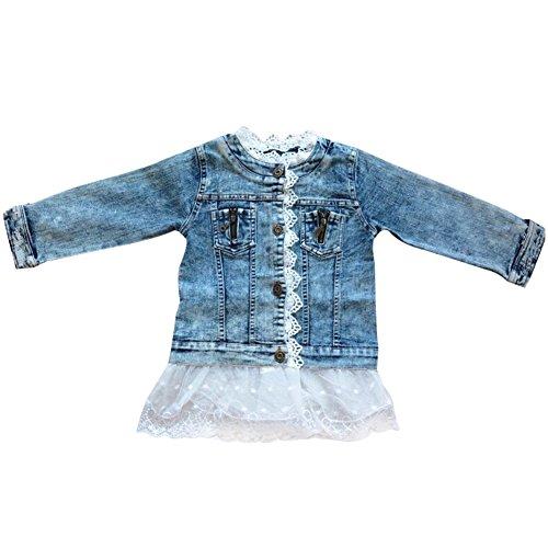 LSHEL Kinder Mädchen Denim Jeans Jacke Süße Lace Kinderjacke mit Spitze, Blau, 122/128 -
