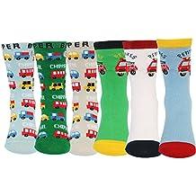 KF Baby Cars antideslizante calcetines de algodón Value Pack [Juego de 6pares], para bebé