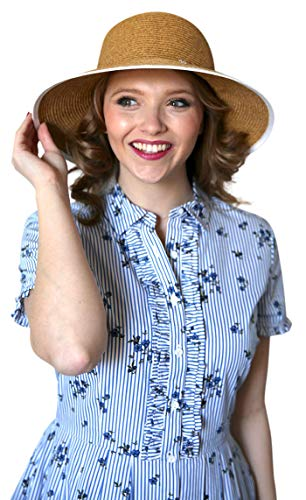 ad7d57a04 sungrubbies Carolina Women Wide Brim Straw Sun Beach Hat X-Large UPF50+  with Stylish Bow in Natural Color