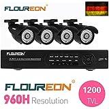 Floureon HDMI CCTV DVR Grabador de Video Vigilancia + 4 X 1200TVL Cámaras Balas Impermeable Aire Libre(Vision Nocturna, Sistema de Seguridad kit, P2P Nube Visión mando a distancia, Android, iPhone, Detección de movimiento)