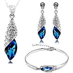 Valentine Gift By Shining Diva Best Selling Italian Designer Jewellery Sets for Women (Blue) (rrsdcmb208)