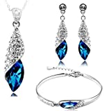 #3: Valentine Gift By Shining Diva Blue Crystal Combo Of Jewellery Set / Chain Pendant With Earrings & Bracelet For Girls And Women