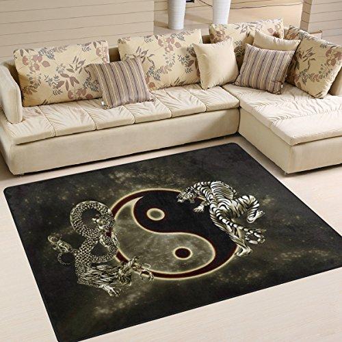ingbags Super Soft modernen chinesischen Dragon Tiger Tai Bagua Yin Yang schwarz und weiß, ein Wohnzimmer Teppiche Teppich Schlafzimmer Teppich für Kinder Play massiv Home Decorator Boden Teppich und Teppiche 160x 121,9cm, multi, 80 x 58 Inch (Teppich Chinesische)